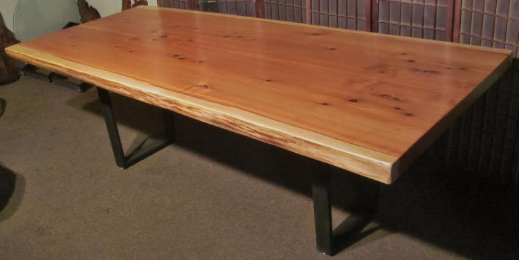 Book-Matched Redwood Table with Steel Legs