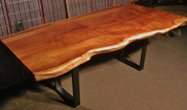 Redwood Bunion Table with Steel Legs
