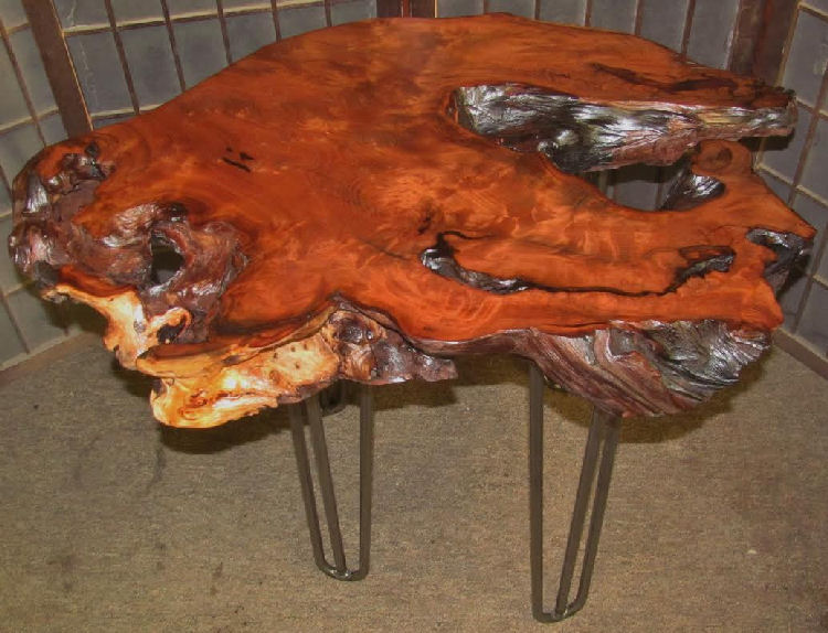 Redwood Burl End Table with Hair-Pin Legs