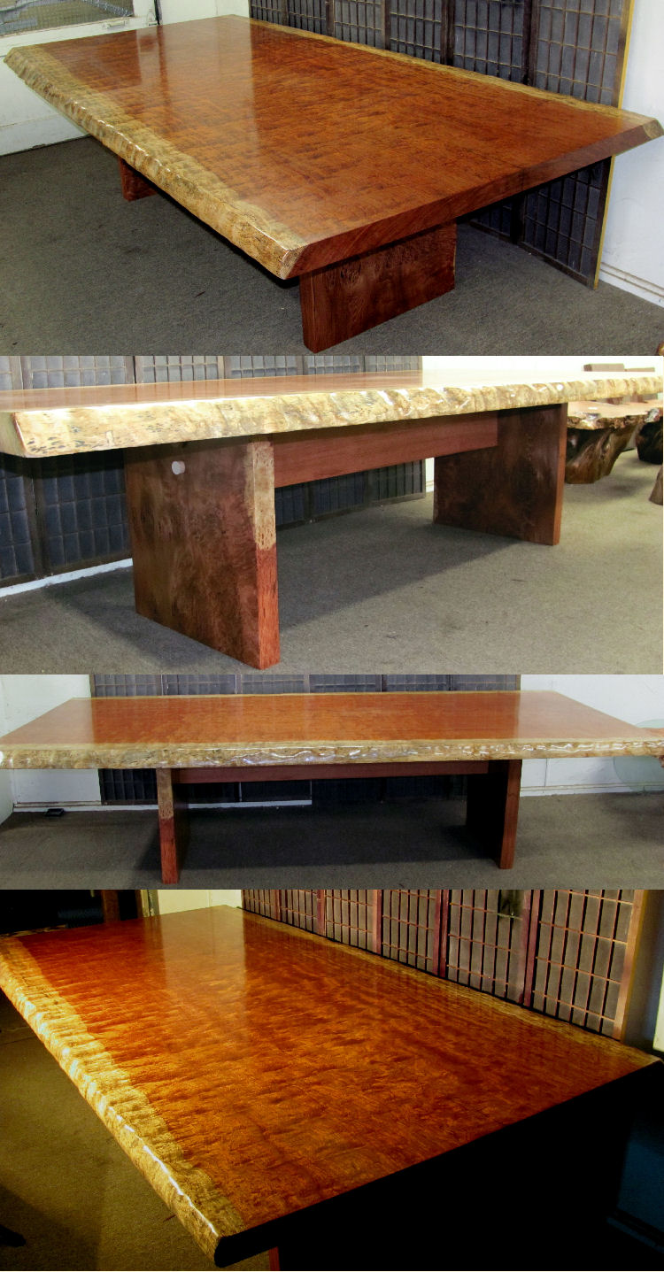 African Bubinga Pommele Dining or Conference Table; Lace Redwood Burl Legs