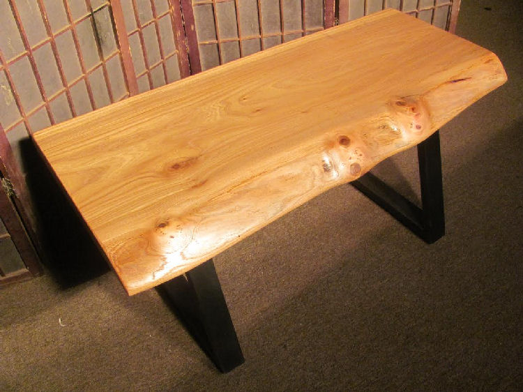 Red Elm Bench with Steel Legs