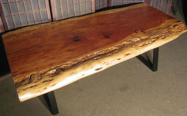 Redwood Coffee Table with Steel Legs