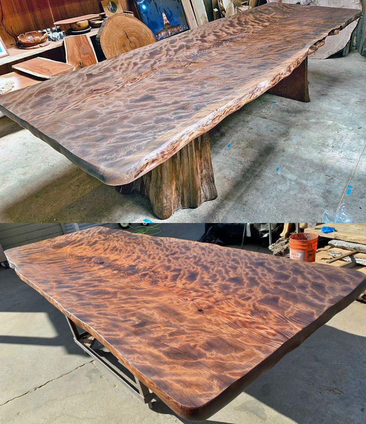 Old-Growth Redwood Dining Table with Root Base