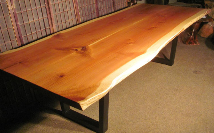 Redwood Book-Matched Dining Table with Steel Base