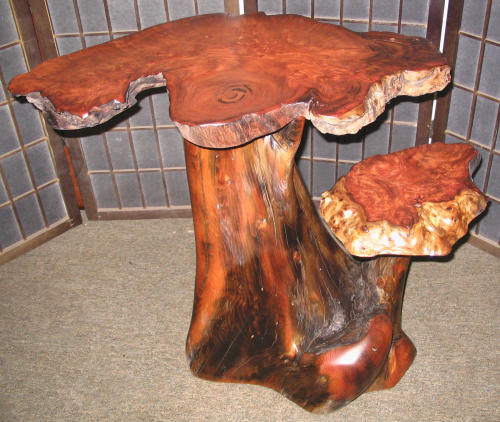 Redwood Burl Two-Tier Table