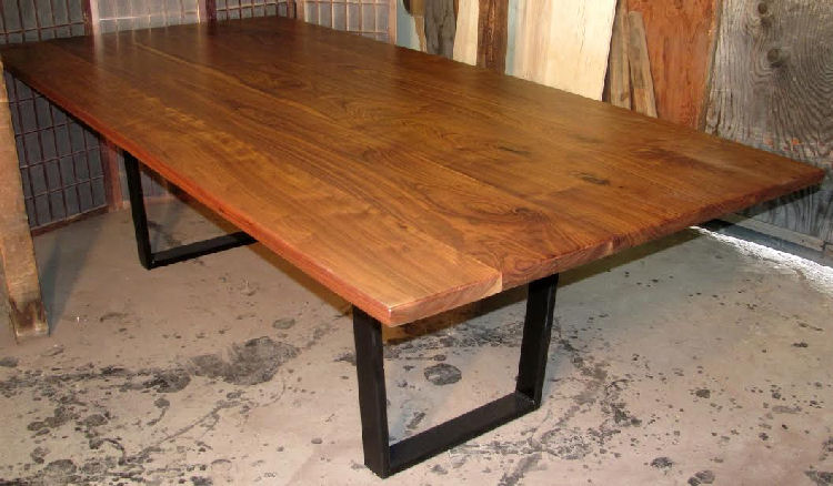 Walnut Dining Table with Steel Legs