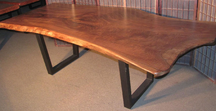 Curly Claro Walnut Table with Steel Legs