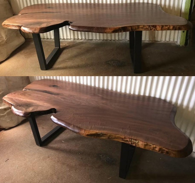 Live-Edge Black Walnut Dining Table with Steel Legs