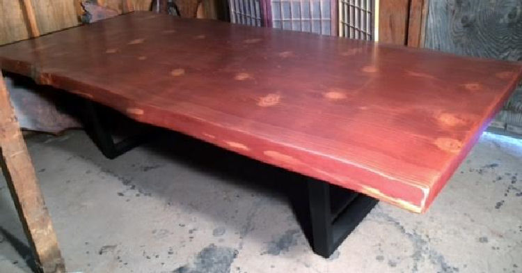 Mahogany-Stained Redwood Dining Table with Steel Legs