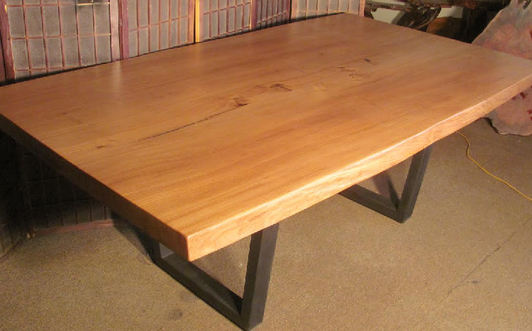 Elm Dining Table with Steel Legs