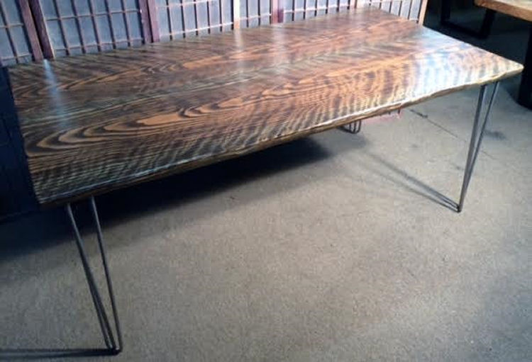 Curly Redwood Dining Table with Walut Stain and Hair-Pin Legs