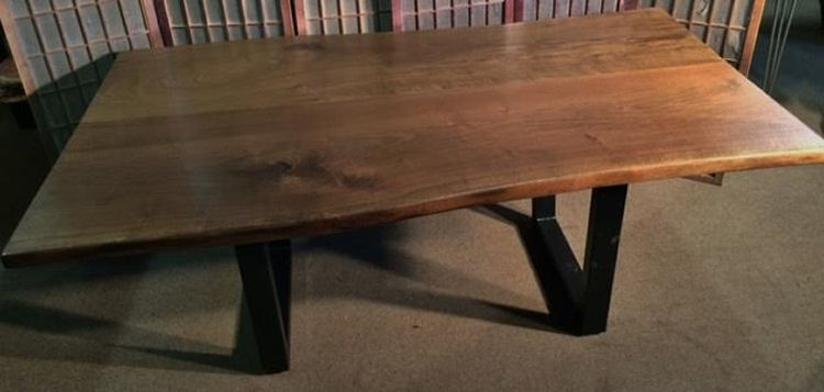 Black Walnut Dining Table with Steel Legs