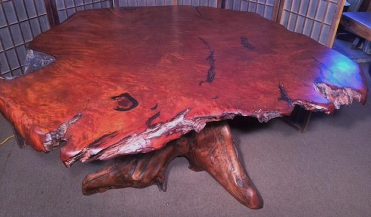 Redwood Burl Dining Table with Root Base