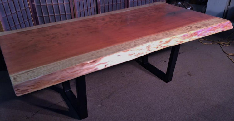 Redwood Dining Table with Steel Legs