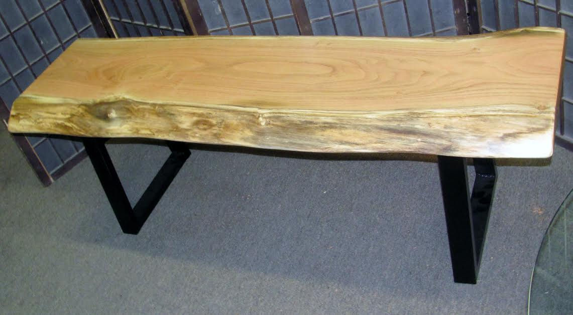 Black Locust Coffee Table or Bench with Steel Legs