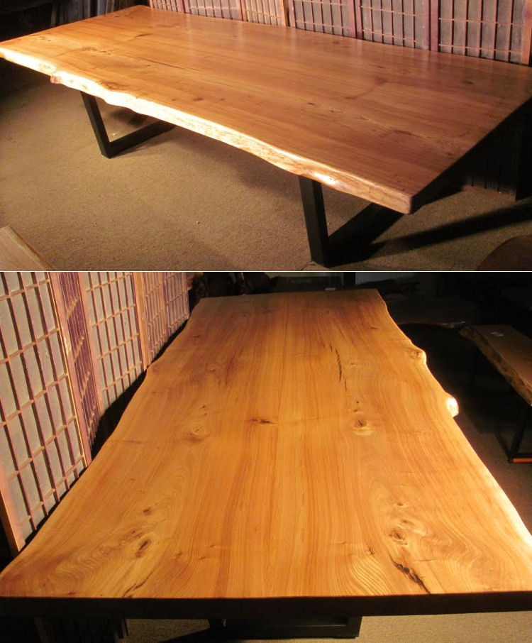 Red Elm Book-Matched Dining Table with Steel Legs