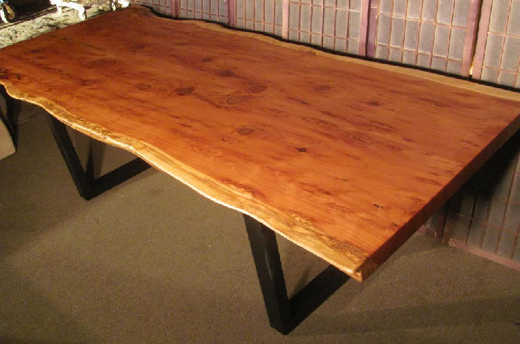 Redwood Burl Dining Table with Steel Legs