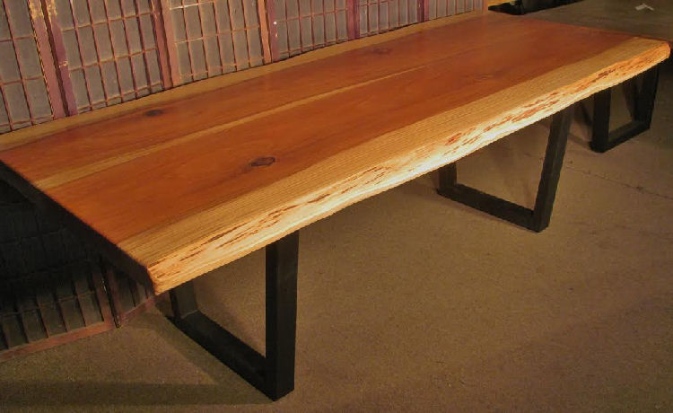 Book-Matched Redwood Dining Table with Steel Legs