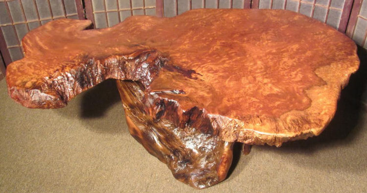 Redwood Lace Burl Coffee Table