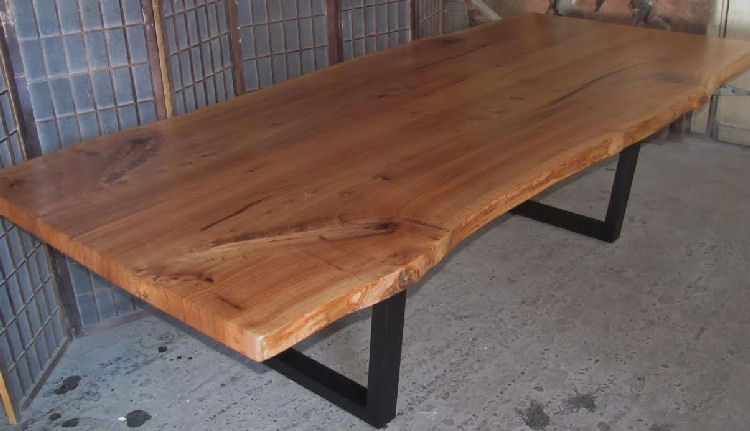 Book-Matched Red Elm Dining Table with Steel Legs