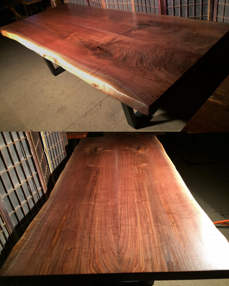 Book-Matched Black Walnut Dining Table with Steel Legs